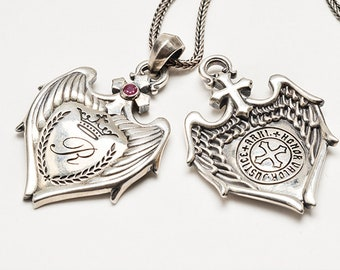 Angel Wings Necklace For Men   Angel Pendant Protection Necklace Silver Cross Necklace Men  Personalized Initial Engraving Necklace Medieval