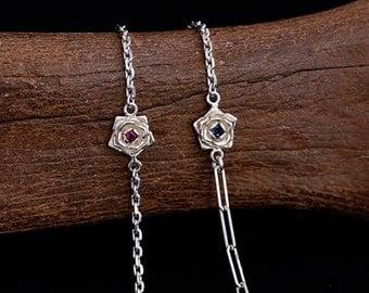 Flower Bracelet For Women | Dainty Bracelet | Floral Bracelet Birthstone | Rose Bracelet Women | Silver Bracelet | Birth Flower Jewelry