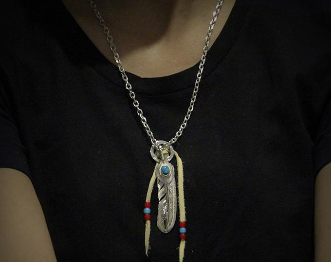 Silver Feather Necklace   Native American Inspired   Turquoise Pendant   Silver Feather Pendant   Feather Jewelry   Tribal Silver Necklace