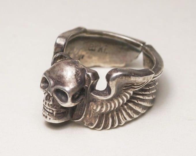 sterling silver skull ring men, biker jewelry for men, gothic jewelry men, goth ring silver, husband birthday gift from wife, punk jewelry