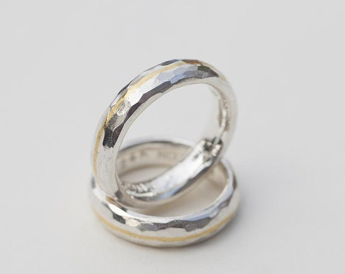 Slim Silver Band   Hammered Couple Ring   Gold Inlay Ring   Rustic Wedding Ring   Silver Gold Ring   Textured Silver Band   Two Tone Band