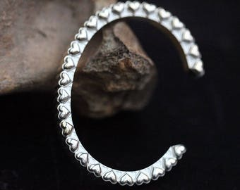 Silver Heart Bracelet | Two Tone Bracelet | 18K Gold Bangle Heart Jewelry | Heart Charm Bracelet | Valentines Gift For Her |Gambling Jewelry