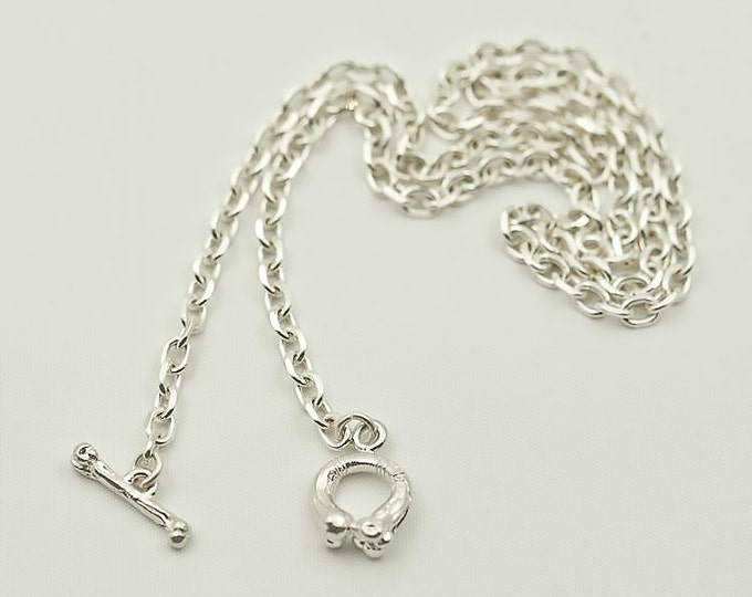 Silver Bone Necklace   Simple Silver Chain   Plain Silver Chain   Layering Necklace   Everyday Necklace   925 Sterling Silver Necklace Basic