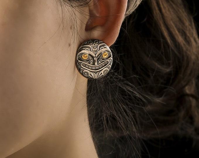 Silver Earrings | Two Tone Studs | Silver Sun Earring Tribal Jewelry | Inca Earrings Sun Face Studs | Plated Gold Earring | Peruvian Jewelry