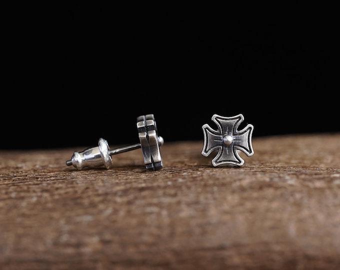 Silver Cross Stud Earring For Men | Sterling Silver Cross Earring | Medieval Cross Jewelry | Christmas Gift For Men | Baptism Gifts Unisex