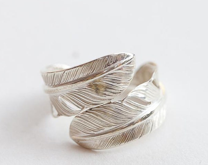 boho rings sterling silver feather ring, Native America Indian jewelry, Navajo ring, southwestern jewelry, bohemian jewelry for women, pinky