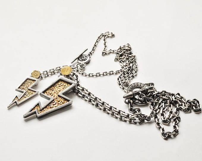 Lightning Bolt Necklace Gold | Thunderbolt Necklace Men | 18K Gold Lightning Bolt Charm Pendant |Lightning Bolt Pendant |Bolt Chain Necklace