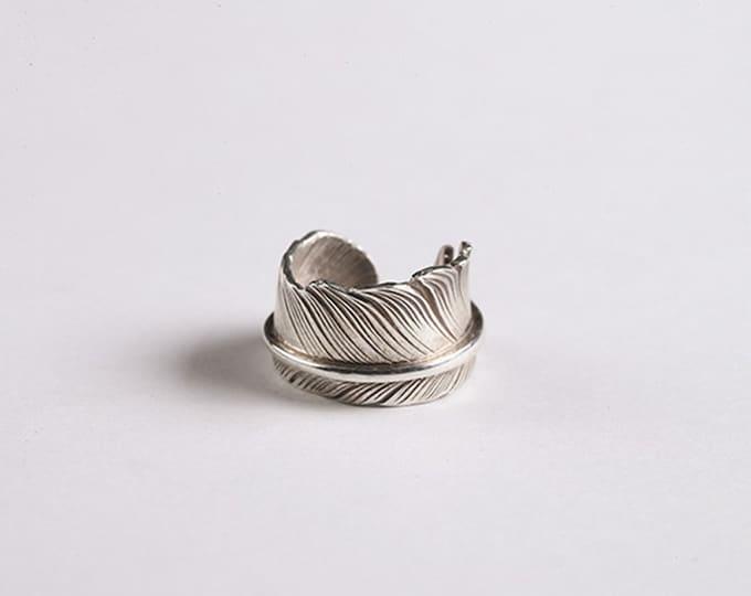 Feather Ear Cuff | Silver Feather Ear Clip | Unisex Clip Earrings | Non-piercing Clips | Wrap Earrings Silver | Couple Earrings Feather