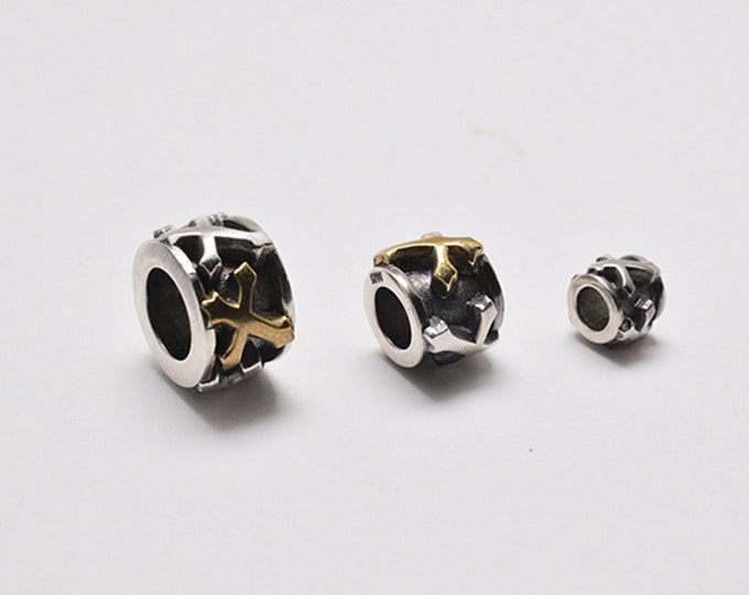18K Gold Cross Beads | Cross Spacer Beads | Silver Cross Beads | Sterling Silver Bead | DIY Accessories | Jewelry Supplies | Oxidized Beads