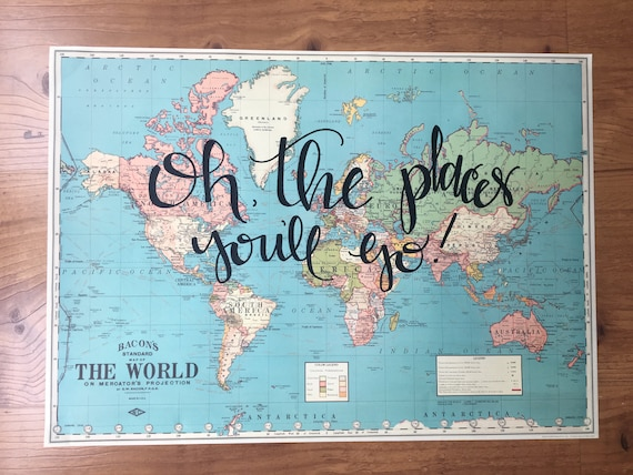 Items Similar To Hand Lettered World Map Oh The Places