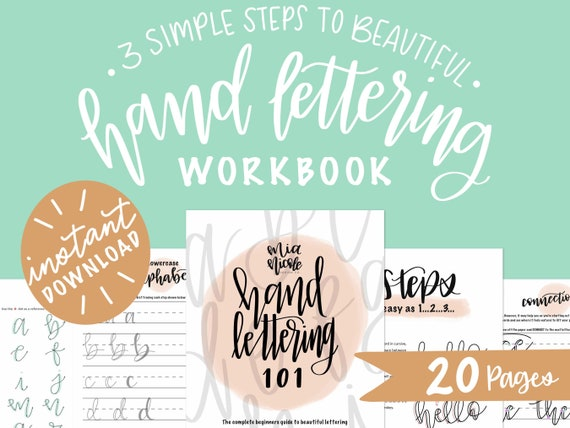 Printable Lettering Practice Sheets For Beginners Calligraphy Instant  Download Digital Hand Lettering Workbook Faux Calligraphy By Mia Nicole  Design Co. Catch My Party