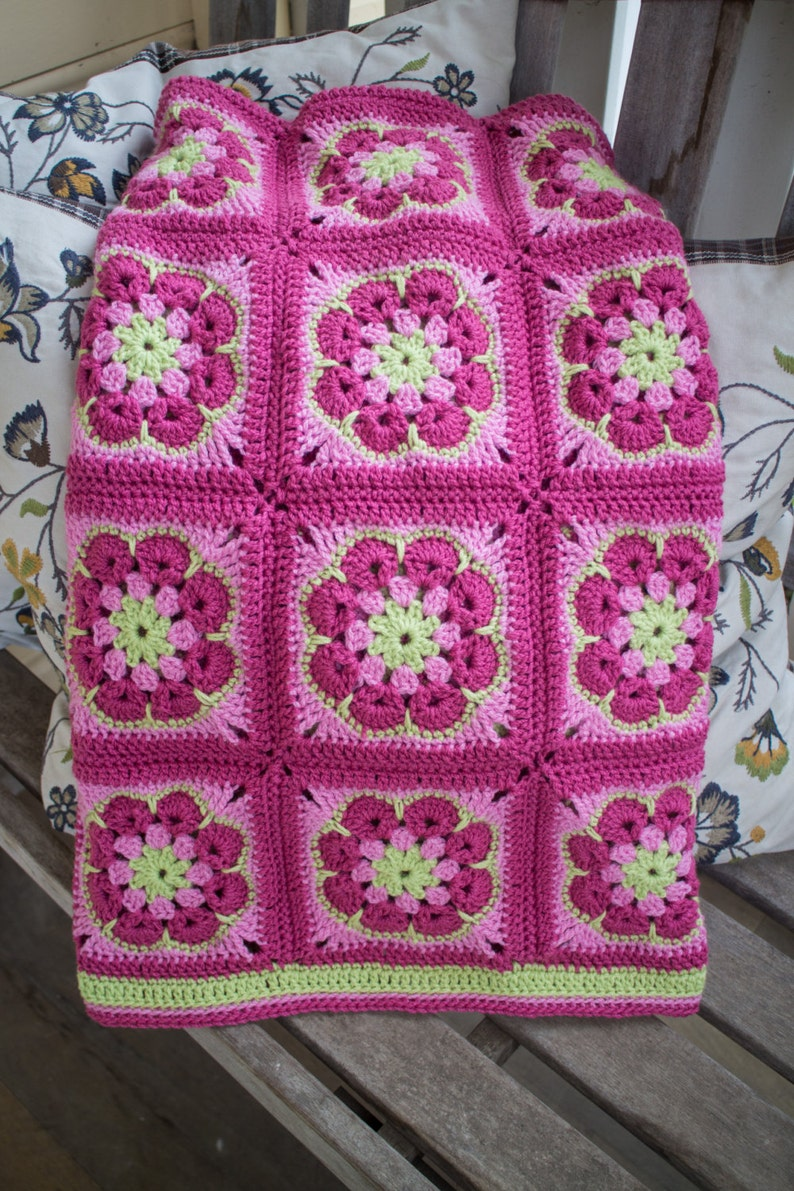 African Rose 100/% Wool Baby Blanket in Pinks and Green
