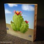 lil' pixel Cactus サボテン (bamboo block) | pixel-Art bamboo wallArt, wall decor