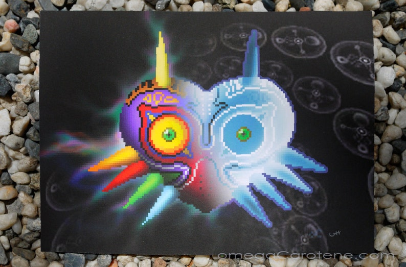 "Majora's Mask inverted time 時 Legend of Zelda pixelArt 8 x 6"" inches"