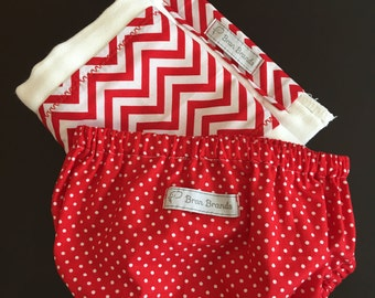 Red Chevron Burp Cloth
