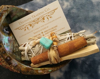White Sage Smudge Stick Sets With Palo Santo and Cinnamon for Blessing, Cleansing, Protection, Invocation, Sexuality and Financial Abundance