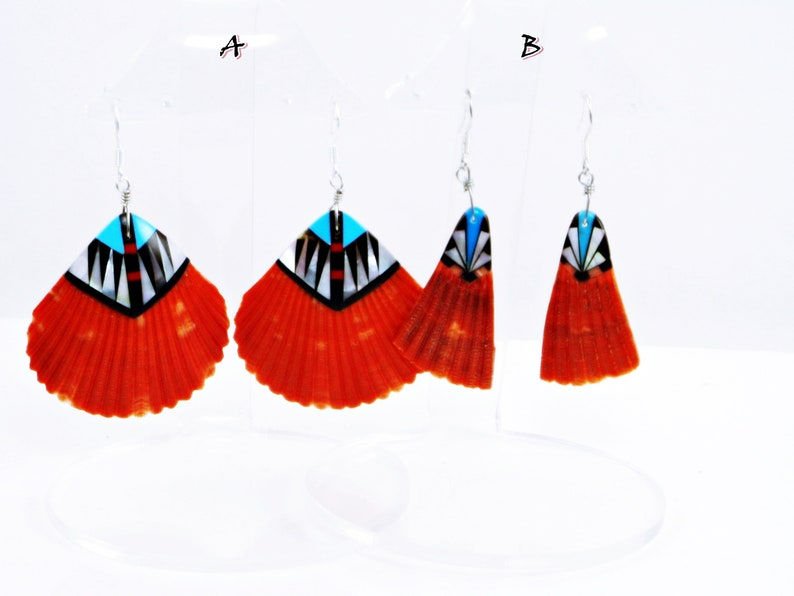 Red Shell Earrings Tribal Earrings Red Spiny Shell Southwest Jewelry Turquoise Natural Red Shell Southwest Earrings Spiny Oyster Shell