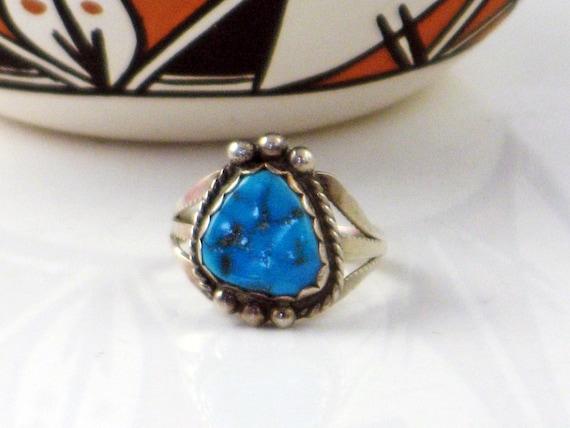 Natural Nugget Size  7 Blue Kingman Navajo Ring Turquoise Nugget Blue Turquoise Ring Sterling Silver Ring Native American Blue Nugget