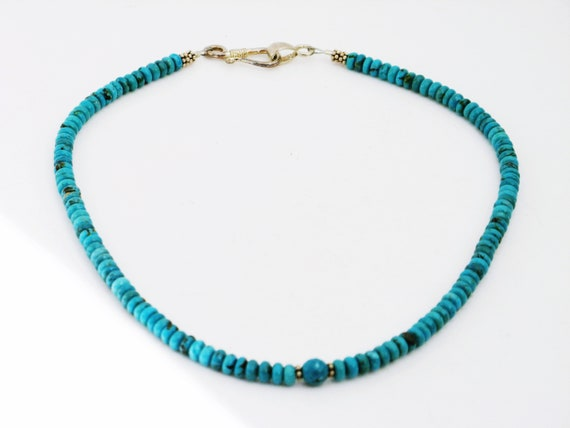 Blue Turquoise, Turquoise Necklace, Turquoise Choker, Turquoise Women Girl, 16 INCH, Handmade Necklace, Turquoise Jewelry, Layering Necklace