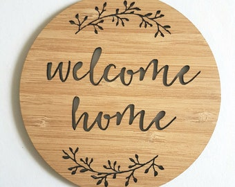 Welcome Home for Newborn-photo prop-kids gift-baby gift-lasercut-baby shower-new baby-new baby-bamboo-wooden-wood-nursery-kidsroom-pregnant