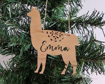 LLAMA ALPACA Personalised Wood Christmas Decoration / Ornament -bauble-christmas gift-kris kringle-personalized christmas ornament