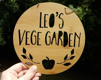 Personalised Vegetable Garden House Sign-Apple-vege patch-veggie-wooden sign-custom name-personalised gift-gardener-lasercut
