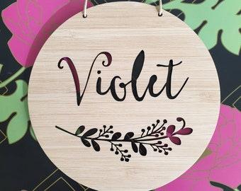 FLORAL Personalised Wooden Wall / Door Hanging-wall hanging-kids door sign-custom name-kids gift-baby gift-lasercut-plaque-nursery decor