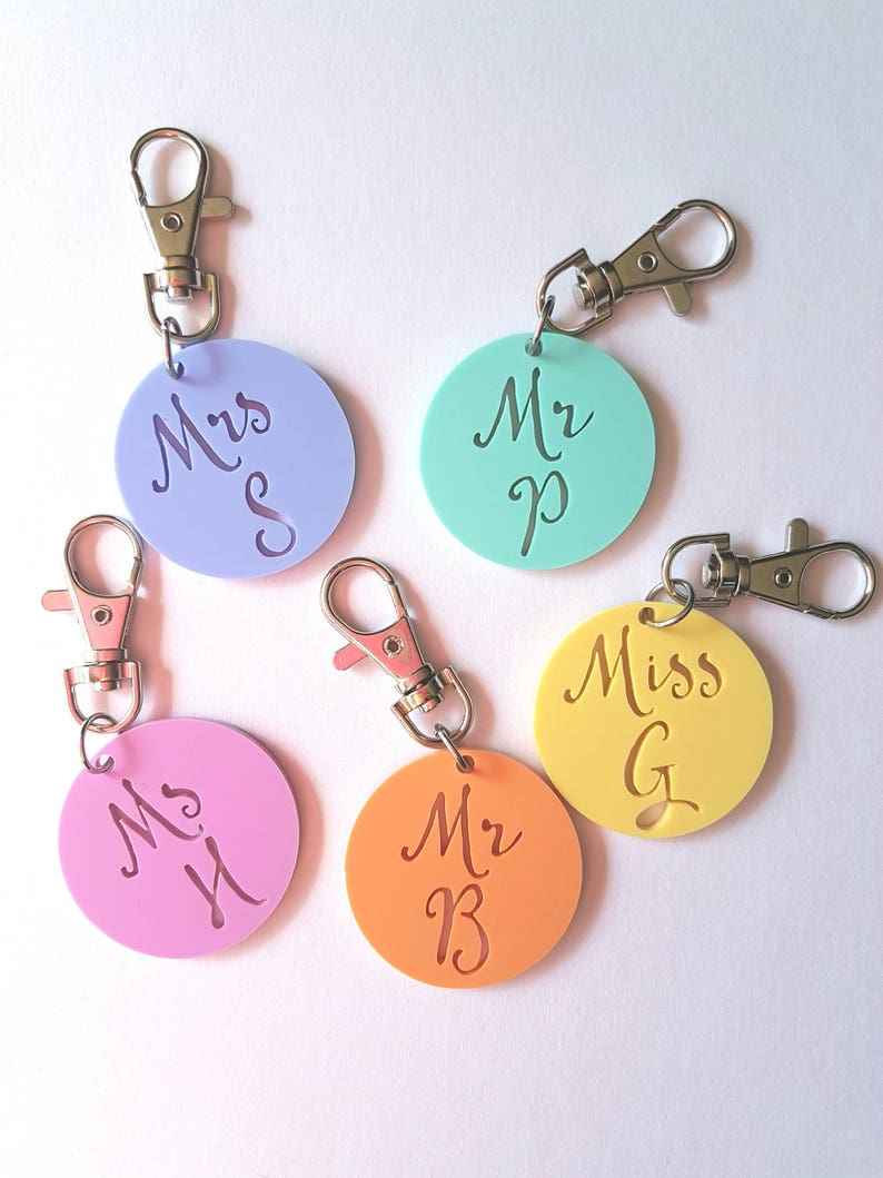 Initial Teacher Keyring Mr-Miss-Mrs-Ms-bag tag-Christmas gift-teacher gift-kris kringle-thank you gift-personalized-personalised