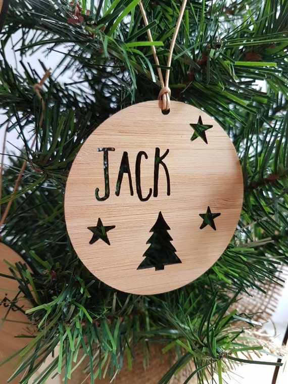 Personalised Wood Christmas Decoration Tree And Stars Design Etsy