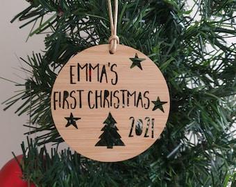 Personalised First Christmas Wood Christmas Decoration-Ornament-christmas tree-gift-christmas gift-wooden-bauble-1st christmas-keepsake
