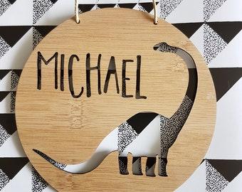 DINOSAUR Personalised Wooden Wall-Door Hanging-nursery decor-Plaque-kids door sign-custom name-kids gift-baby gift-lasercut-personalized
