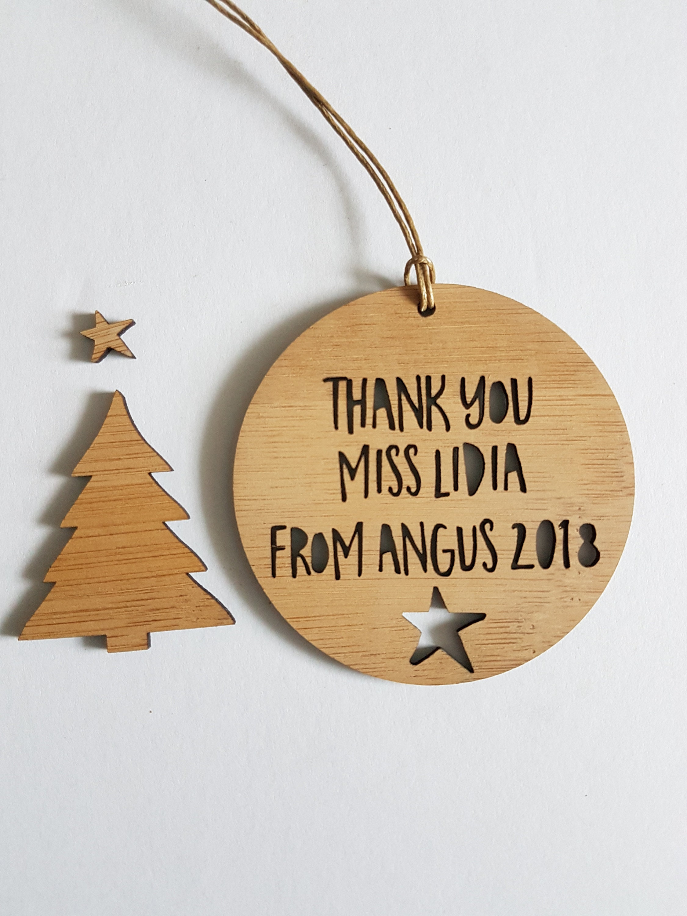 Personalised Wood Christmas Decoration Ornament For Teacher Etsy