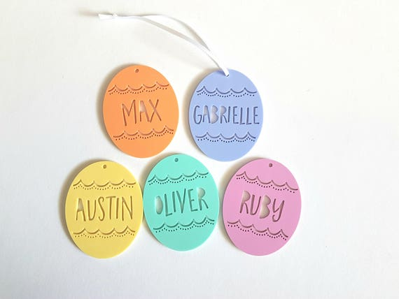 Personalised Easter Egg Hearts with Name Hanging Decoration Tag Keepsake Gift