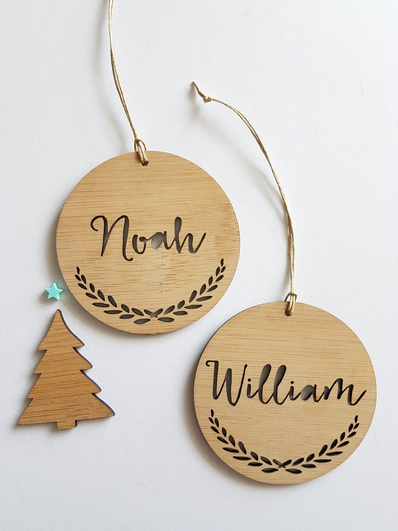Personalised Wood Christmas Decoration Wreath Etsy