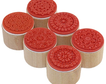 6PCS one lot 3cmx3cmx2.5cm wish stamp Wooden Rubber stamp floral pattern luck stamps