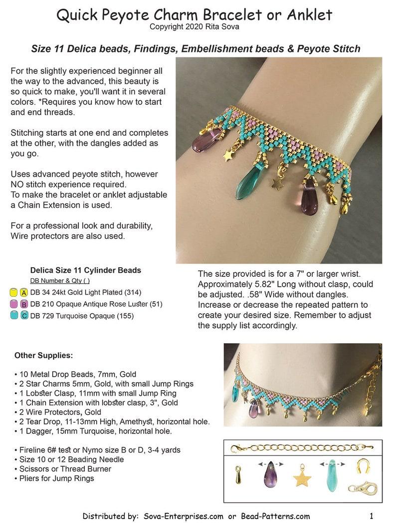 Instant PDF Download Quick Peyote Charm Bracelet or Anklet Beaded Bracelet Pattern Tutorial