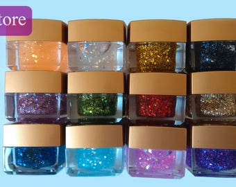 12 Pots Color 3D Nail Art Sequins Crystal Glaze Solid UV Gel Salon Tips