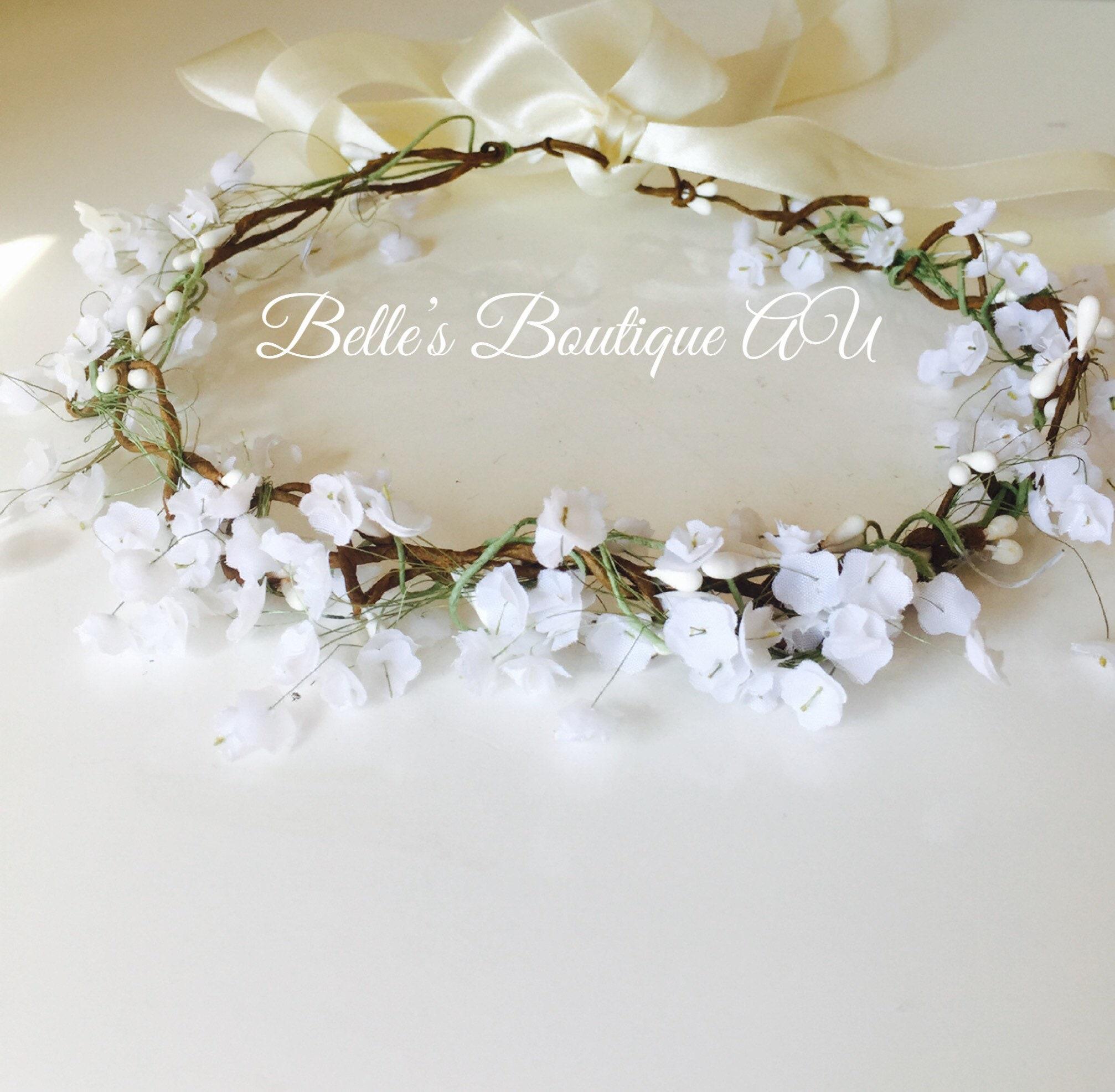 Babys Breath Flower Crown Wedding Hair Wreath White Gypsophila Flowers