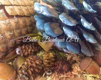 Wooden pine cone arrangement, pine cone ornament, woodland ornament, rustic decor