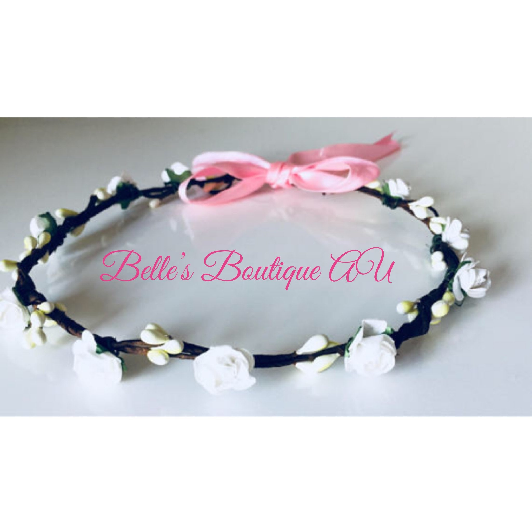 White flower crown floral hair wreath mightylinksfo