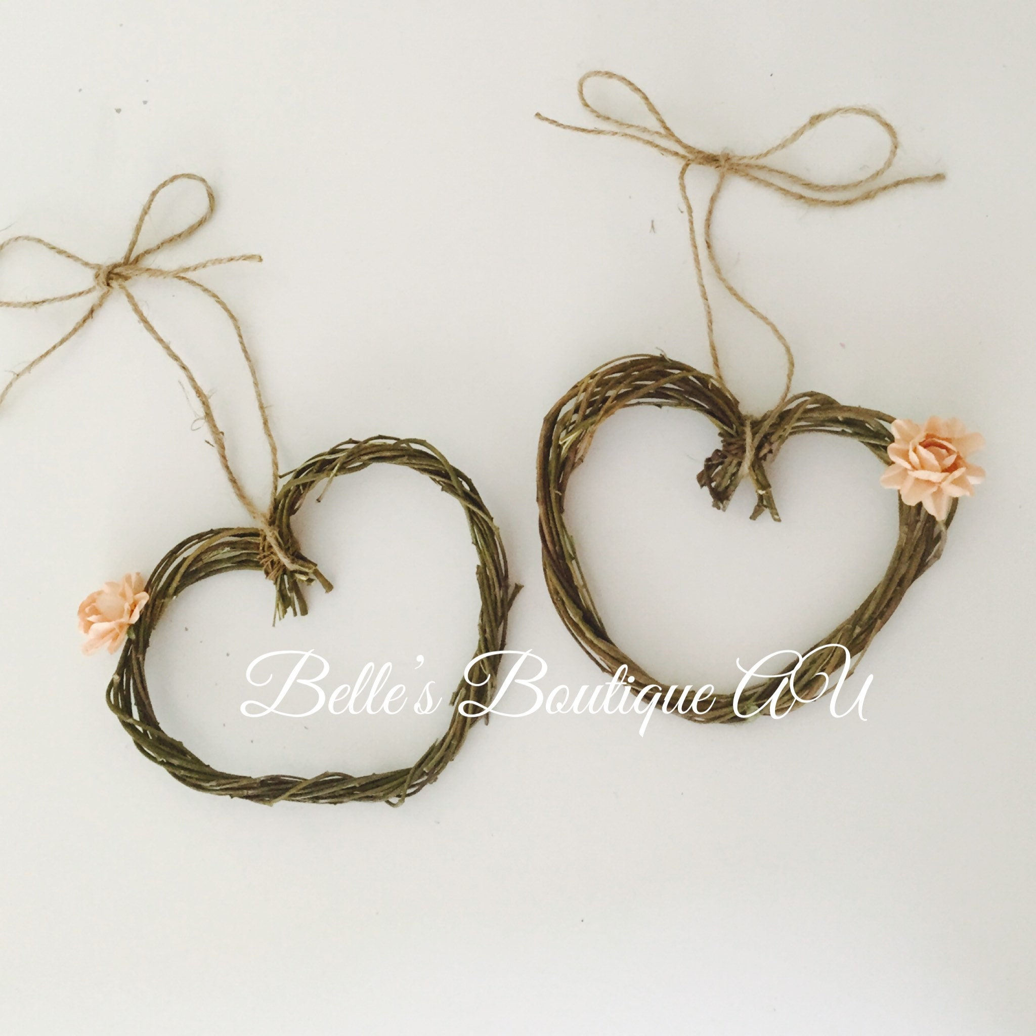 Love Heart Wreaths Rustic Home Decor Boho Weddings Shabby