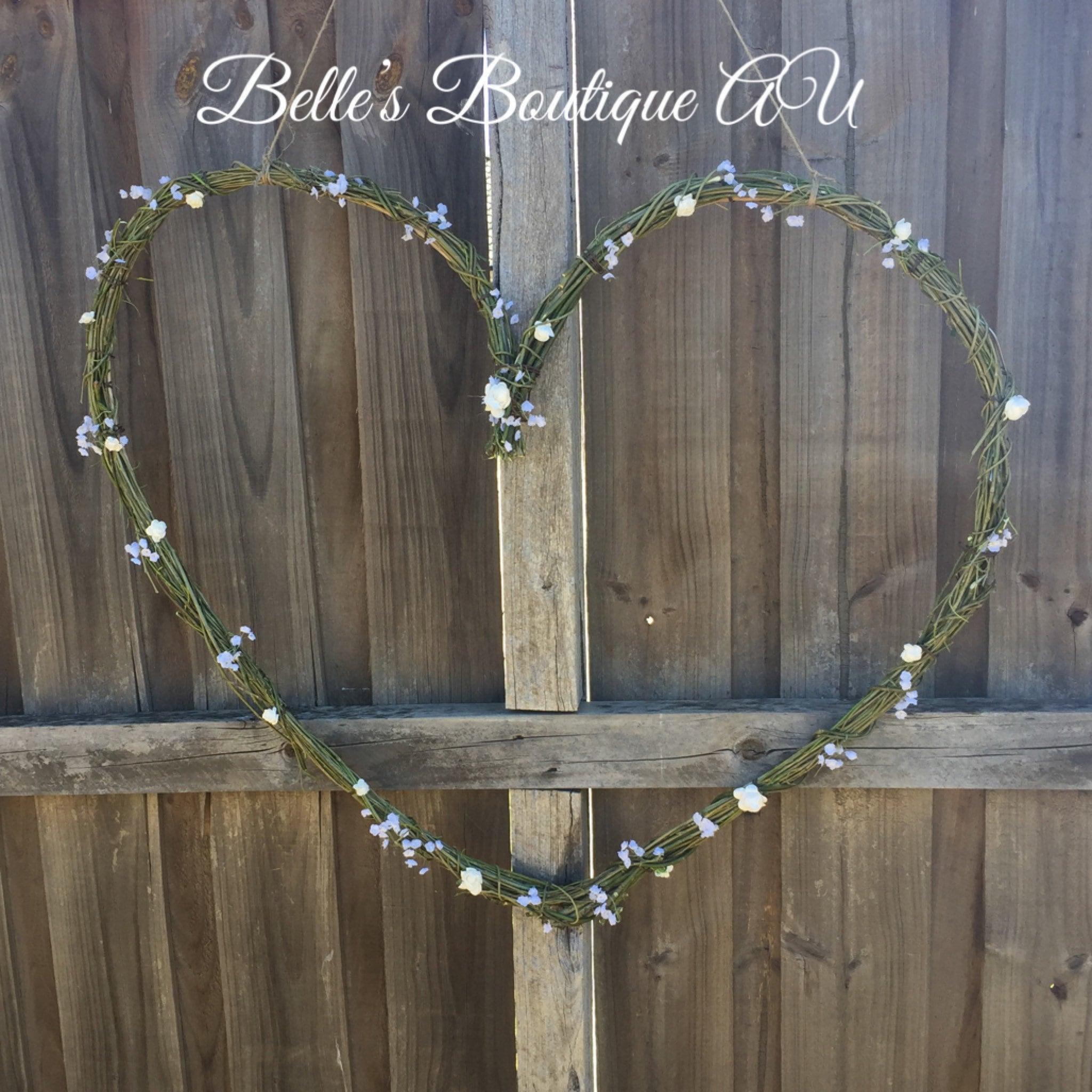 Love Heart Wreath Rustic Wedding Decor Boho Wedding