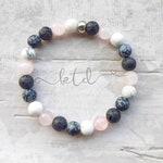 Diffuser bracelet- healing crystal bracelet- gemstone bracelet- aromatherapy bracelet- essential oil bracelet- rose quartz- lava stone