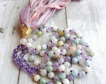 108 Mala-Yoga meditation prayer beads- cancer gift- sari silk- healing crystals- mala necklace- boho- pastel- gift for her- yoga jewelry