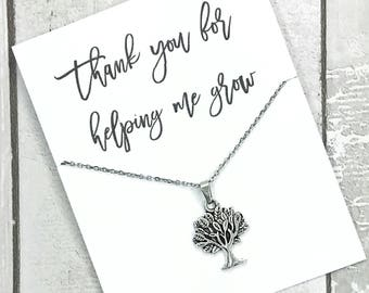 Teacher gift- daycare gift- thank you for helping me grow- tree of life necklace- christmas gift- ECE gift- teacher appreciation- coach gift