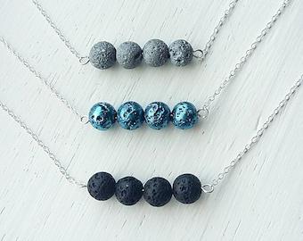 Essential oil diffuser necklace- lava stone necklace- aromatherapy jewelry- diffuser necklace- lava rock necklace- diffuser jewellery