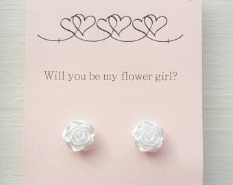 Flower girl proposal- Flower girl earrings- flower girl gift wedding jewelry-mother of pearl earrings- flower girl thank you- rose studs