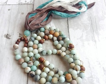 108 Mala-Yoga meditation prayer beads- sari silk- healing crystals- cancer gift- mala necklace- boho- pastel- gift for her- yoga jewelry