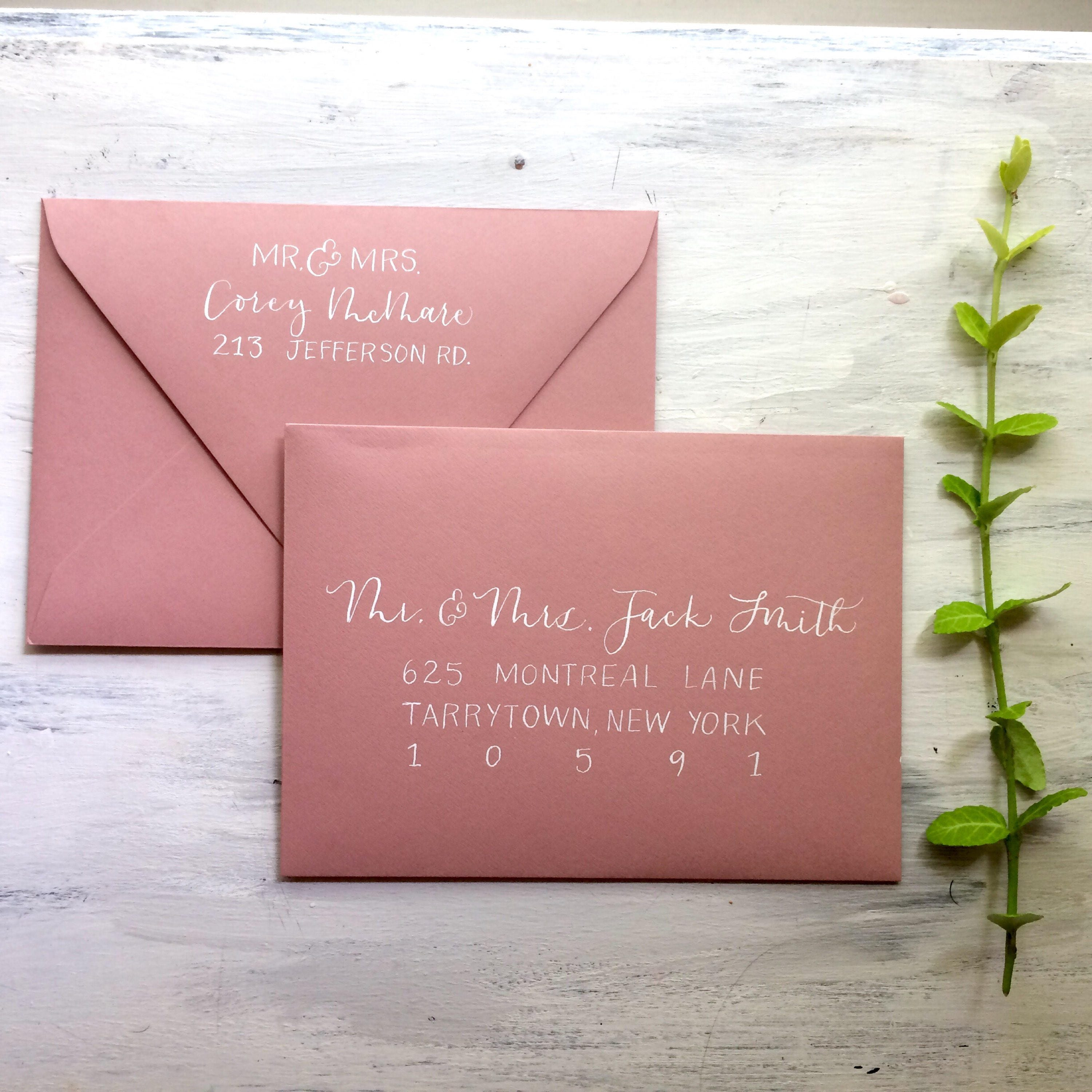 Custom Hand lettered Calligraphy Wedding Invitations Wedding