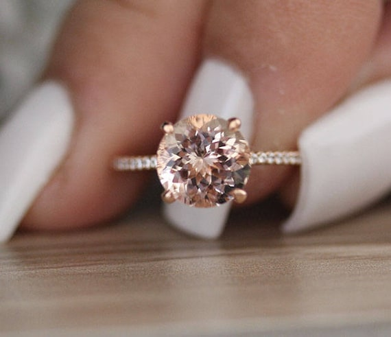 9mm Round Peach Pink Morganite Engagement Ring Promise Ring | Etsy